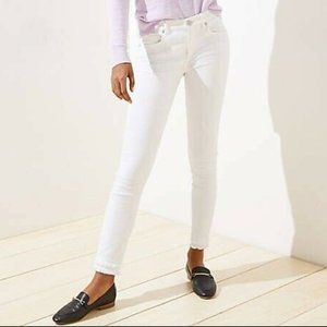 LOFT MODERN DOUBLE FRAYED WHITE SKINNY JEANS - NWT